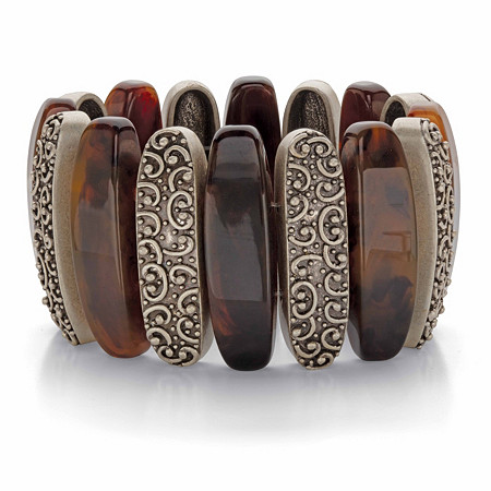"""Genuine Brown Tiger's Eye Oblong Bead Wide Stretch Bracelet in Antiqued Goldtone 7"""" at PalmBeach Jewelry"""