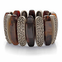 SETA JEWELRY Genuine Brown Tiger's Eye Oblong Bead Wide Stretch Bracelet in Antiqued Goldtone 7