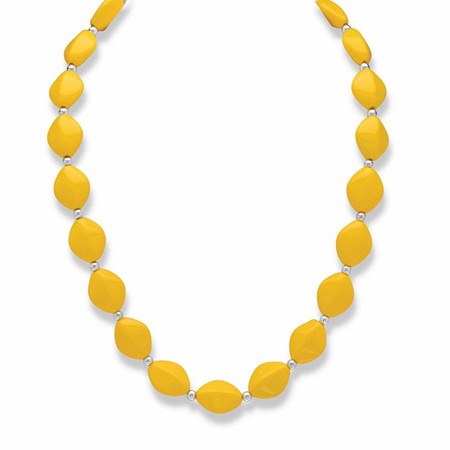 """Yellow Mod-Style Lucite Cabochon Beaded Single Strand Necklace in Silvertone 18""""-21"""" at PalmBeach Jewelry"""