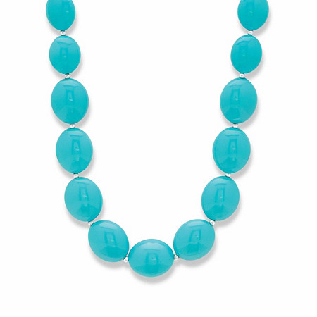 """Blue Mod-Style Graduated Lucite Cabochon Beaded Strand Necklace in Silvertone 28"""" at PalmBeach Jewelry"""