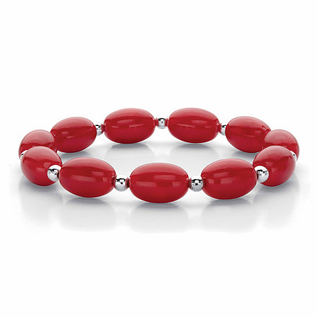 """Oval Red Cabochon Lucite Bead Single Strand Stretch Bracelet in Silvertone, 7"""" at PalmBeach Jewelry"""