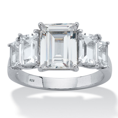 Emerald-Cut Cubic Zirconia Step-Top Engagement Ring 4.38 TCW in Platinum over Sterling Silver at PalmBeach Jewelry