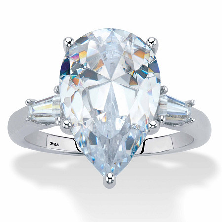 Pear-Cut and Tapered Baguette Cubic Zirconia Engagement Ring 6.03 TCW Platinum Over Sterling Silver at PalmBeach Jewelry