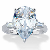 Pear-Cut and Tapered Baguette Cubic Zirconia Engagement Ring 6.03 TCW Platinum Over Sterling Silver