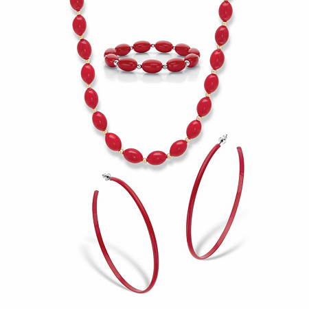 """Red Enamel and Lucite Earring and Bracelet Set 7"""" Silvertone BONUS: Buy the Set, Get the Necklace FREE! Goldtone 23"""" at PalmBeach Jewelry"""