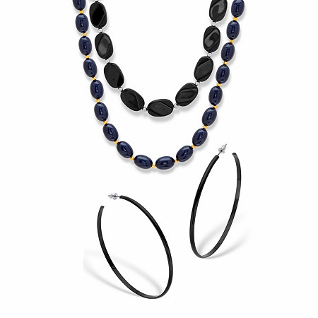 """Black Enamel and Lucite Earring and Necklace Set 28"""" Silvertone BONUS BUY: Get the Midnight Blue Necklace FREE! Goldtone 23"""" at PalmBeach Jewelry"""