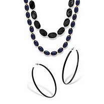SETA JEWELRY Black Enamel and Lucite Earring and Bracelet Set 7