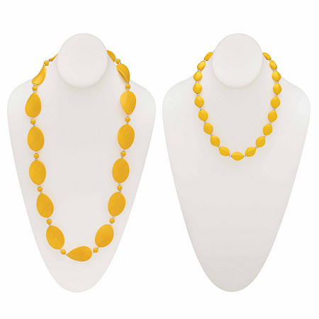"""Yellow Mod-Style Lucite Cabochon Strand Necklace 28"""" BONUS: Buy One Necklace, Get the Beaded Necklace FREE! SIlvertone 18""""-21"""" at PalmBeach Jewelry"""
