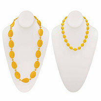 "Yellow Mod-Style Lucite Cabochon Strand Necklace 28"" BONUS: Buy One Necklace, Get the Beaded Necklace FREE! SIlvertone 18""-21"""