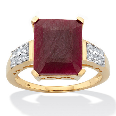 Emerald-Cut Genuine Red Ruby and White Topaz Cocktail Ring 6.65 TCW 14k Gold over Sterling Silver at PalmBeach Jewelry