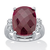 Emerald-Cut Genuine Red Ruby and White Tanzanite  Cocktail Ring 9.98 TCW Sterling Silver