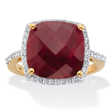 Cushion-Cut Genuine Red Ruby and White Topaz Cocktail Ring 4.25 TCW 14k Gold over Sterling Silver at PalmBeach Jewelry