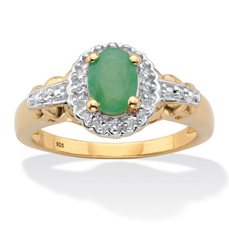Oval-Cut Genuine Green Emerald and White Topaz Halo Ring .97 TCW 14k Gold over Sterling Silver at PalmBeach Jewelry