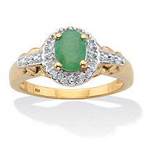 Oval-Cut Genuine Green Emerald and White Topaz Halo Ring .97 TCW 14k Gold over Sterling Silver