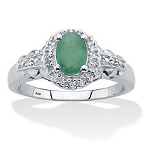 Oval-Cut Genuine Green Emerald and White Topaz Halo Ring .97 TCW Sterling Silver