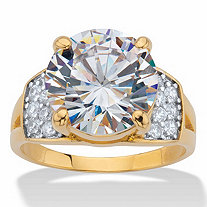 Round Cubic Zirconia Engagement Ring (6.35 TCW )14k Gold-Plated