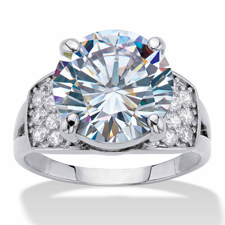 Round Cubic Zirconia  Engagement Ring 6.35 TCW Platinum-Plated at PalmBeach Jewelry