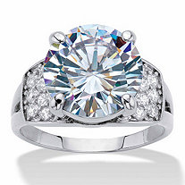 Round Cubic Zirconia Engagement Ring 6.35 TCW Platinum-Plated
