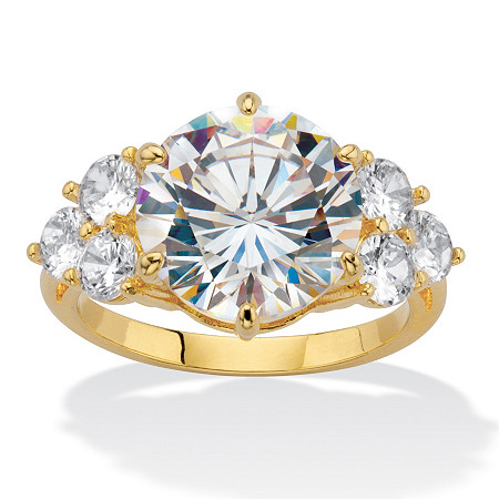 Round-Cut Cubic Zirconia Engagement Ring 7.50 TCW Gold-Plated at PalmBeach Jewelry