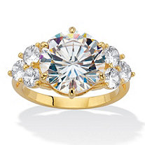 Round-Cut Cubic Zirconia Engagement Ring 7.50 TCW 14k Gold-Plated