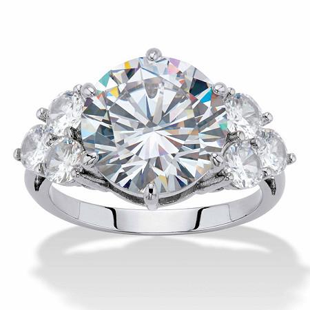 Round-Cut Cubic Zirconia Engagement Ring 7.50 TCW  Platinum-Plated at PalmBeach Jewelry