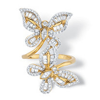 Round Cubic Zirconia Butterfly Wrap Ring 4.41 TCW 14k Gold-Plated