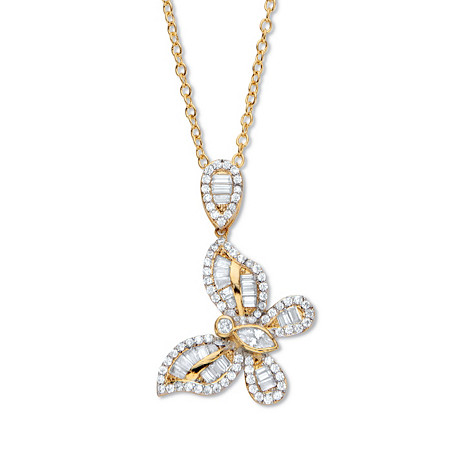 """Marquise-Cut and Round Cubic Zirconia  Butterfly Pendant Necklace 18""""-20"""", 2.01 TCW 14k Gold-Plated at PalmBeach Jewelry"""