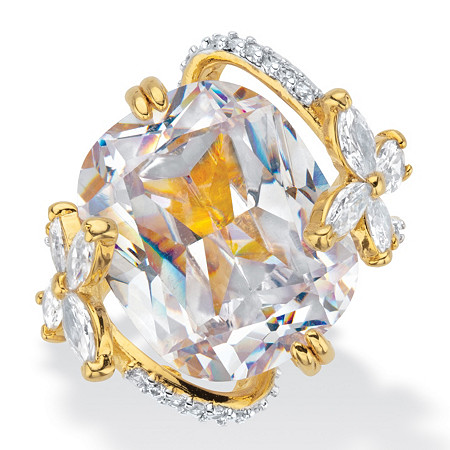 Cushion-Cut Cubic Zirconia Butterfly Cocktail Ring 10.46 TCW Gold-Plated at PalmBeach Jewelry