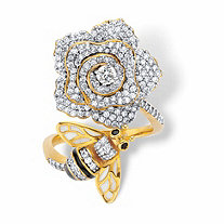 Round Black and White Cubic Zirconia Flower and Bee Wrap Cocktail Ring 1.27 TCW 14k Gold-Plated