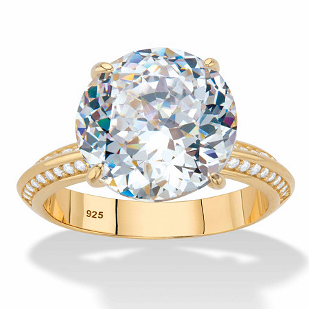 Round Cubic Zirconia Tapered Engagement Ring 6.32 TCW 18k Gold over Sterling Silver at PalmBeach Jewelry