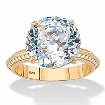 Round Cubic Zirconia Tapered Engagement Ring 6.32 TCW 18k Gold over Sterling Silver