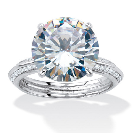 Round Cubic Zirconia Tapered Engagement Ring 6.32 TCW Platinum over Sterling Silver at PalmBeach Jewelry