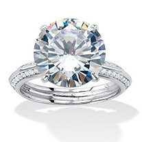 Round Cubic Zirconia Tapered Engagement Ring 6.32 TCW Platinum over Sterling Silver