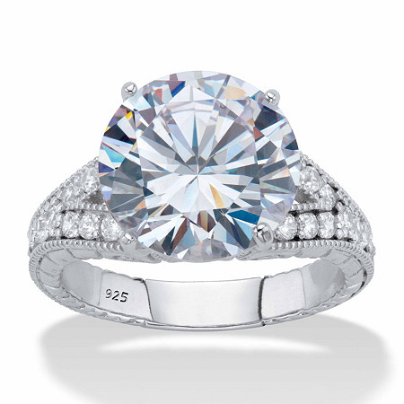 Round Cubic Zirconia  Milgrain Split Shank Engagement Ring 6.30 TCW, Platinum over Sterling Silver at PalmBeach Jewelry