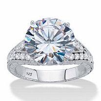 Round Cubic Zirconia Milgrain Split Shank Engagement Ring 6.30 TCW, Platinum over Sterling Silver