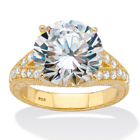 Round Cubic Zirconia Milgrain Split Shank Engagement Ring 6.30 TCW 18k Gold over Sterling Silver at PalmBeach Jewelry