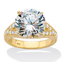 Round Cubic Zirconia Milgrain Split Shank Engagement Ring 6.30 TCW 18k Gold over Sterling Silver