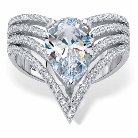 Pear-Cut and Round Cubic Zirconia Multi-Row Chevron Engagement Ring 3.51 TCW Platinum over Sterling Silver at PalmBeach Jewelry
