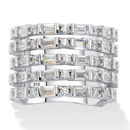 Baguette-Cut and Round Cubic Zirconia Multi-Row Cocktail Ring 4.70 TCW Platinum over Sterling Silver at PalmBeach Jewelry