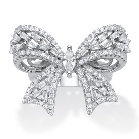 Marquise-Cut and Round Cubic Zirconia  Ribbon Bow Cocktail Ring 4.24 TCW Platinum-Plated at PalmBeach Jewelry