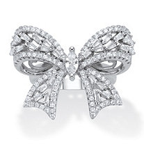 Marquise-Cut and Round Cubic Zirconia  Ribbon Bow Cocktail Ring 4.24 TCW Platinum-Plated