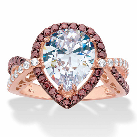 Pear-Cut and Round Chocolate Brown and White Cubic Zirconia Halo Engagement Ring 4.37 TCW 18k Rose Gold over Sterling Silver at PalmBeach Jewelry