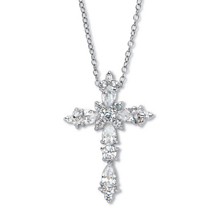 """Pear-Cut and Round Cubic Zirconia Cross Pendant Necklace 18"""", 1.48 TCW Platinum over Sterling Silver at PalmBeach Jewelry"""