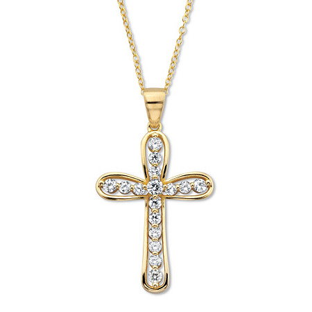 """Round Cubic Zirconia Cross Pendant Necklace 18"""" .75 TCW 18k Gold over Sterling Silver at PalmBeach Jewelry"""