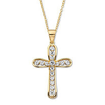 Round Cubic Zirconia Cross Pendant Necklace 18