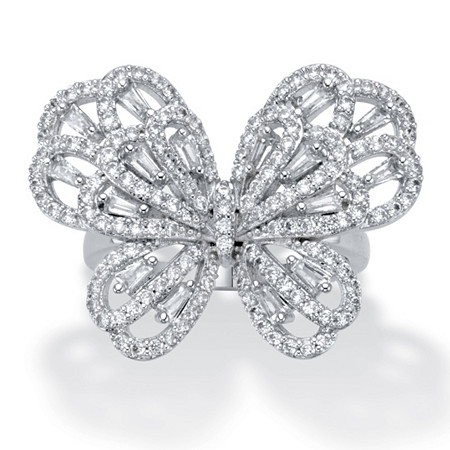 Baguette-Cut and Round Cubic Zirconia Butterfly Ring 1.28 TCW Platinum-Plated at PalmBeach Jewelry