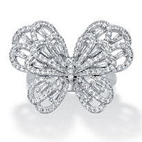 Baguette-Cut and Round Cubic Zirconia Butterfly Ring 1.28 TCW Platinum-Plated
