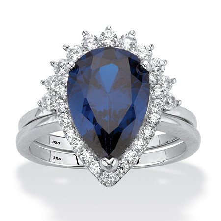 Pear-Cut Blue Cubic Zirconia 2-Piece Halo Bridal Ring Set 4.82 TCW Platinum over Sterling Silver at PalmBeach Jewelry