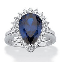 Pear-Cut Blue Cubic Zirconia 2-Piece Halo Bridal Ring Set 4.82 TCW Platinum over Sterling Silver