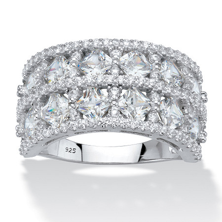 Princess-Cut and Round Cubic Zirconia  Wide Anniversary Ring 3.42 TCW Platinum over Sterling Silver at PalmBeach Jewelry